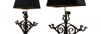 19th Century Pair of Wrought Iron Table Lamps