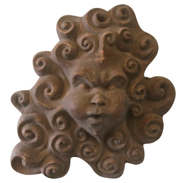 Wall mount terra cotta mask with scrolls depicting the blowing wind