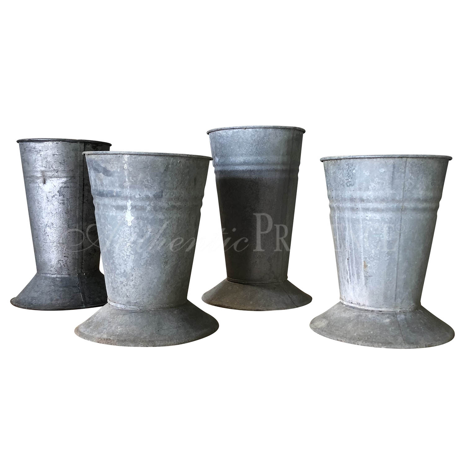 225 & Set of French Galvanized Metal Flower Pots | Authentic Provence