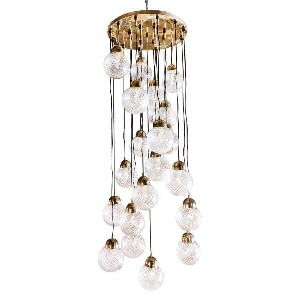 Large Mid-Century modern Italian chandelier by Nardo composed of nineteenround, lightly frosted Murano glass bulbs. Circa 1960, Italy.