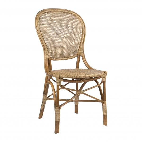 A classic 1930s European bistro chair reedition, crafted of lightweight natural rattan in an antiqued finish.