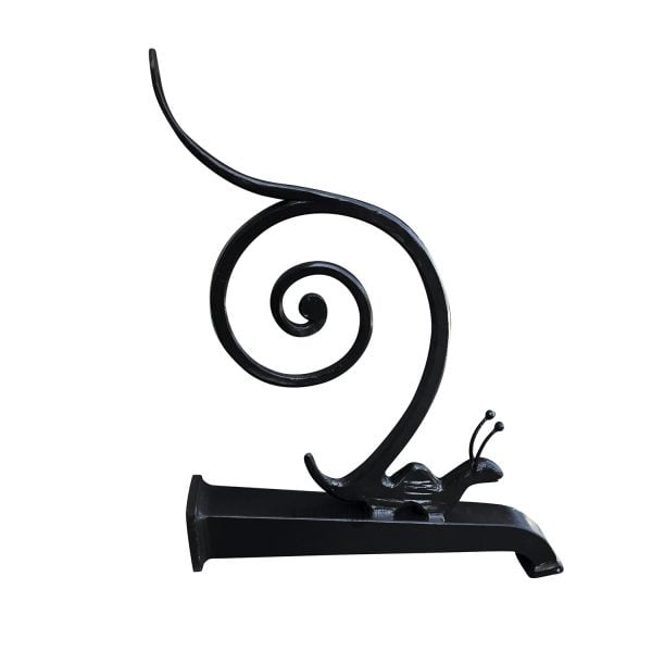 A continuous heavy metal garden fountain spout with a stylized crawling snail and a pronounced scroll.